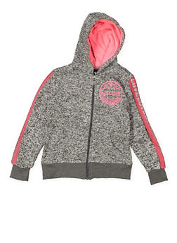 Girls 7-16 Love Graphic Zip Up Sweatshirt - 3631063400089