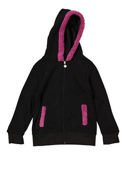 Girls 7-16 Sherpa Trim Hooded Sweatshirt - 3631063400146