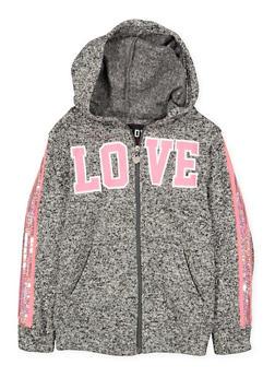 Girls 7-16 Love Graphic Sequin Trim Knit Sweatshirt - 3631063400155