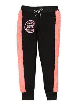 Girls 7-16 Love Graphic Sherpa Trim Joggers - 3631063400161