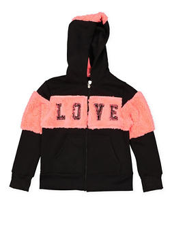 Girls 7-16 Love Graphic Hooded Sweatshirt - 3631063400162