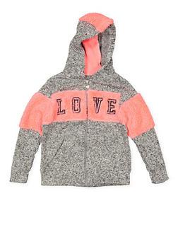 Girls 7-16 Love Sherpa Color Block Hooded Sweatshirt - 3631063400162