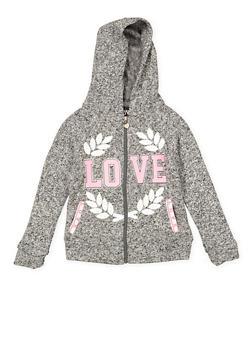 Girls 7-16 Love Graphic Zip Front Sweatshirt - 3631063400194