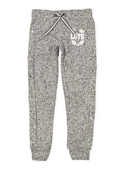 Girls 7-16 Marled Love Graphic Joggers - 3631063400197