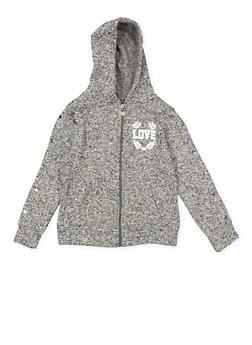 Girls 7-16 Marled Love Graphic Sweatshirt - 3631063400198
