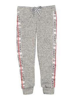 Girls 7-16 Love Graphic Trim Knit Sweatpants - 3631063400205