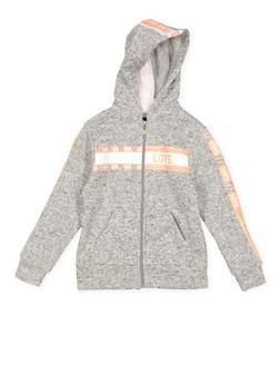 Girls 7-16 Love Graphic Trim Zip Front Sweatshirt - 3631063400210