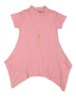 Girls 4-6x Asymmetrical Tunic Top with Necklace - 3634038340007