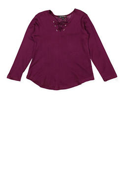 Girls 4-6x Lace Up Top - 3634038340009