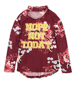 Girls 4-6x Nope Not Today Graphic Choker Neck Top - 3634038340011