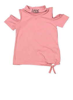 Girls 4-6x Love Graphic Cold Shoulder Top - 3634038340013