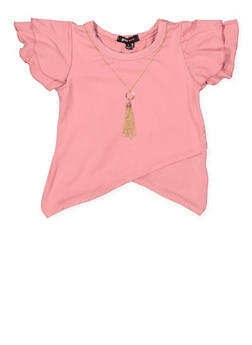 Girls 4-6x Asymmetrical Hem Top with Necklace - 3634038340014
