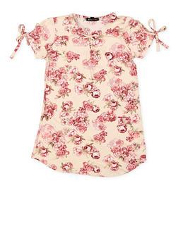Girls 4-6x Floral Tie Sleeve Tee - 3634038340018