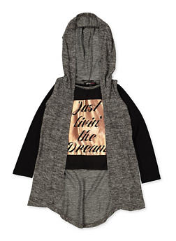 Girls 4-6x Just Livin the Dream Tee with Hooded Vest - 3634038340025