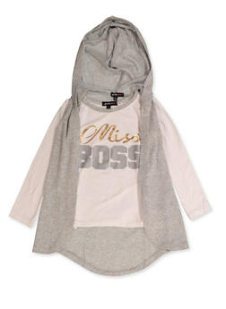 Girls 4-6x Miss Boss Long Sleeve Tee with Hooded Vest - 3634038340026