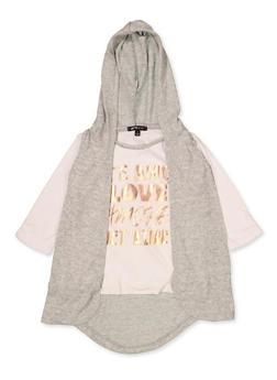 Girls 4-6x Te Amo Tee with Hooded Vest - 3634038340027