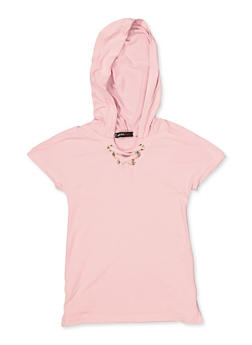 Girls 4-6x Lace Up Hooded Top - 3634038340046