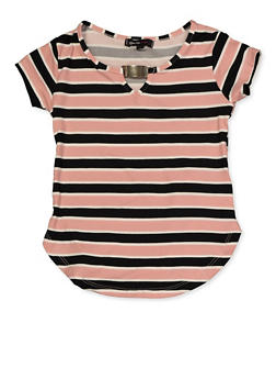 Girls 4-6x Metallic Detail Striped Top - 3634038340048