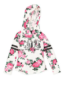 Girls 4-6x Hooded Graphic Floral Top - 3634051060011
