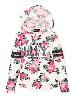 Girls 4-6x Floral Sequin Graphic Hooded Top - 3634051060012