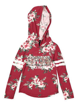 Girls 4-6x Hooded Graphic Floral Top - 3634051060013