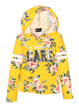 Girls 4-6x Floral Sequin Graphic Hooded Top - 3634051060015