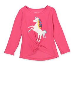 Girls 4-6x Glitter Pom Pom Unicorn Tee - 3634061950022