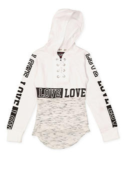Girls 4-6x Color Block Graphic Hooded Top - 3634063400012