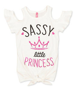 Girls 4-6x Sassy Little Princess Cold Shoulder Top - 3634066590130