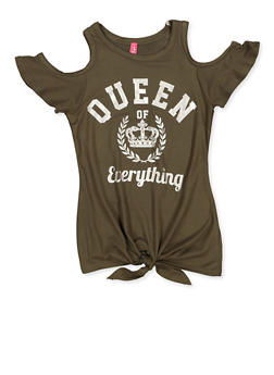 Girls 4-6x Queen of Everything Cold Shoulder Top - 3634066590132