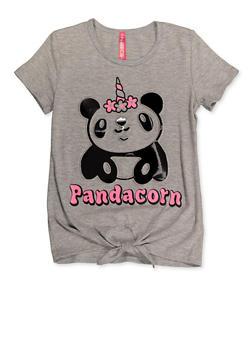 Girls 4-6x 3D Pandacorn Tie Front Tee - 3634066590161