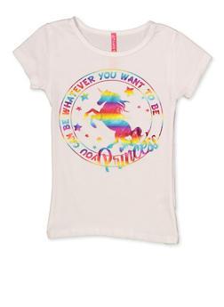Girls 4-6x Unicorn Foil Graphic Tee - 3634066590170