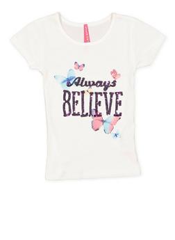 Girls 4-6x Always Believe Sequin Graphic Tee - 3634066590307