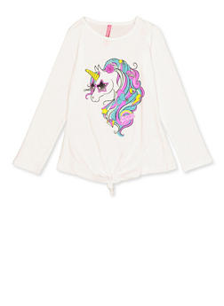 Girls 4-6x Tie Front Unicorn Tee - 3634066590331