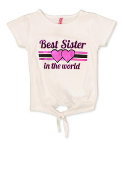 Girls 4-6x Best Sister in the World Tie Front Tee - 3634066590337