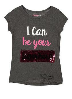 Girls 4-6x Reversible Sequin Graphic Tee - 3634073990001