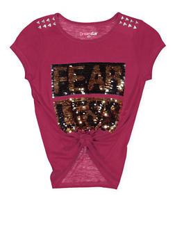 Girls 4-6x Reversible Sequin Graphic Tie Front Tee - 3634073990004