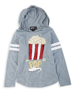 Girls 4-6x Popcorn Reversible Sequin Hooded Tee - 3634073990022