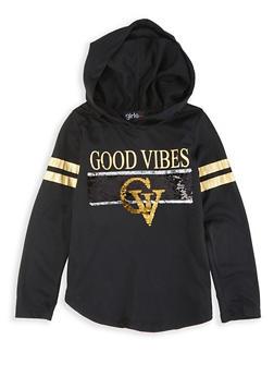 Girls 4-6x Good Vibes Reversible Sequin Hooded Tee - 3634073990023