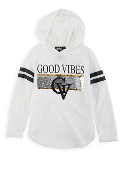 Girls 4-6x Good Vibes Reversible Sequin Hooded Tee - 3634073990023