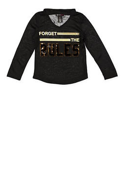 Girls 4-6x Forget the Rules Reversible Sequin Tee - Black - Size 6 - 3634073990025