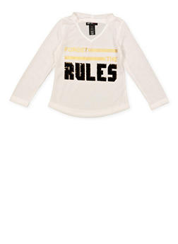 Girls 4-6x Forget the Rules Reversible Sequin Tee - 3634073990025
