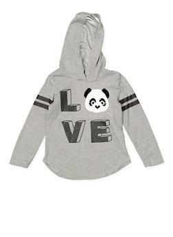 Girls 4-6x Reversible Sequin Panda Graphic Tee - 3634073990027