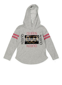 Girls 4-6x Reversible Sequin Graphic Hooded Tee - 3634073990028