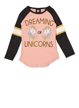 Girls 4-6x Dreaming of Unicorns Graphic Top - 3634075540037