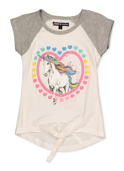 Girls 4-6x Glitter Unicorn Heart Tee - 3634075540051