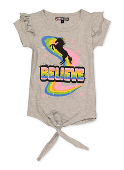Girls 4-6x Believe Tie Front Top - 3634075540054
