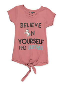 Girls 4-6x Believe In Yourself and Unicorns Top - 3634075540058