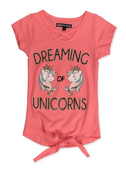 Girls 4-6x Dreaming of Unicorns Top - 3634075540059