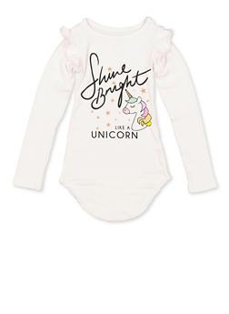 Girls 4-6x Shine Bright Like A Unicorn Soft Knit Tee - 3634075540080